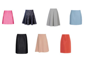 Skirt styles that could have a patch pocket feature.